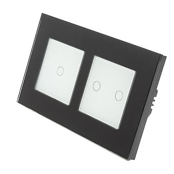 I LumoS Black Glass Double Frame 3 Gang 2 Way Remote Touch LED Light Switch White Insert