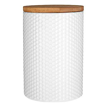 Premier Housewares Canister White Hex with Bamboo Lid