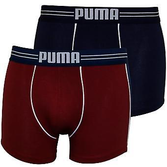 Puma 2-Pack deportivo color bloqueo Boxer Briefs, Burdeos/azul