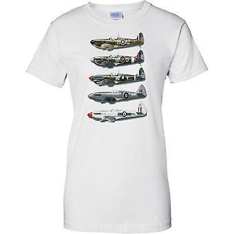 WW2 Spitfire Collage - slag van Groot-Brittannië jachtvliegtuigen - dames T Shirt