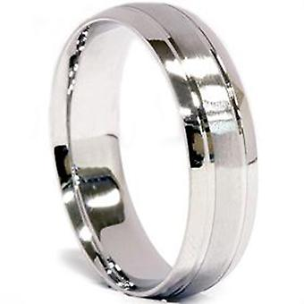 Mens 950 Platinum 6mm Brushed Comfort Fit Wedding Band