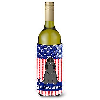 Patriotic USA Cocker Spaniel Black Wine Bottle Beverge Insulator Hugger