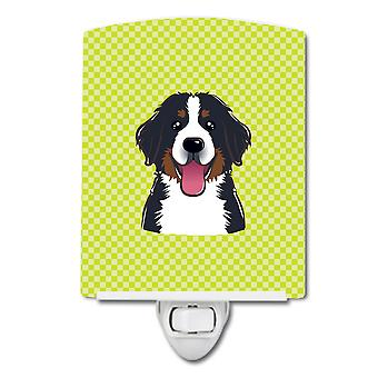 Checkerboard Lime Green Bernese Mountain Dog Ceramic Night Light