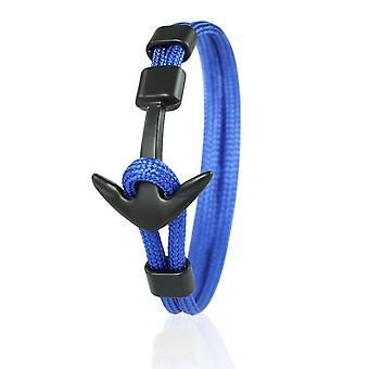 Patrón de anclaje brazalete 21 cm nylon pulseras azules con ancla negra 6958