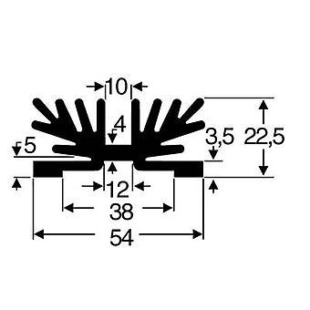 Fischer Elektronik SK 65 37,5 SA-1 X M3 Heat sink 3.5 K/W (L x W x H) 54 x 37.5 x 22 mm SOT 32