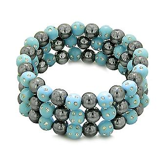 Amulets Set of 3 Individual Simulated Hematite Magnetic Bracelets in Sky Blue Sparkling Crystals