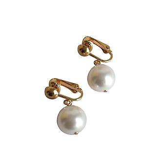 Gemshine - Damen - Ohrringe - Ohrclips - Vergoldet - Perlen - Edel Weiß