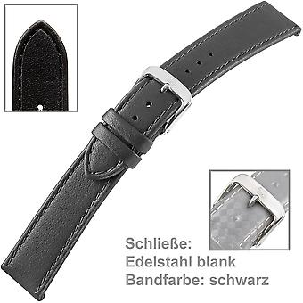 black watch strap for watches calf leather men black 22 mm strap