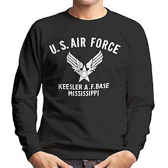 US Airforce Keesler AF Base Mississippi White Text Men's Sweatshirt