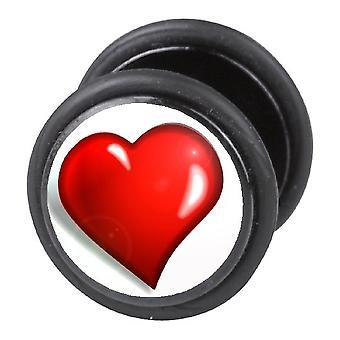 Falska fuskare örat Plug, örhängen, smycken, hjärtat