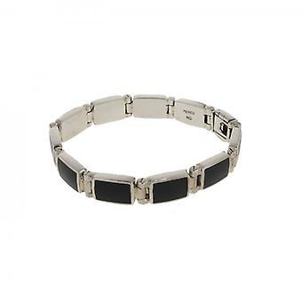 Cavendish French Sterling Silver and Black Agate Oblong Link Bracelet