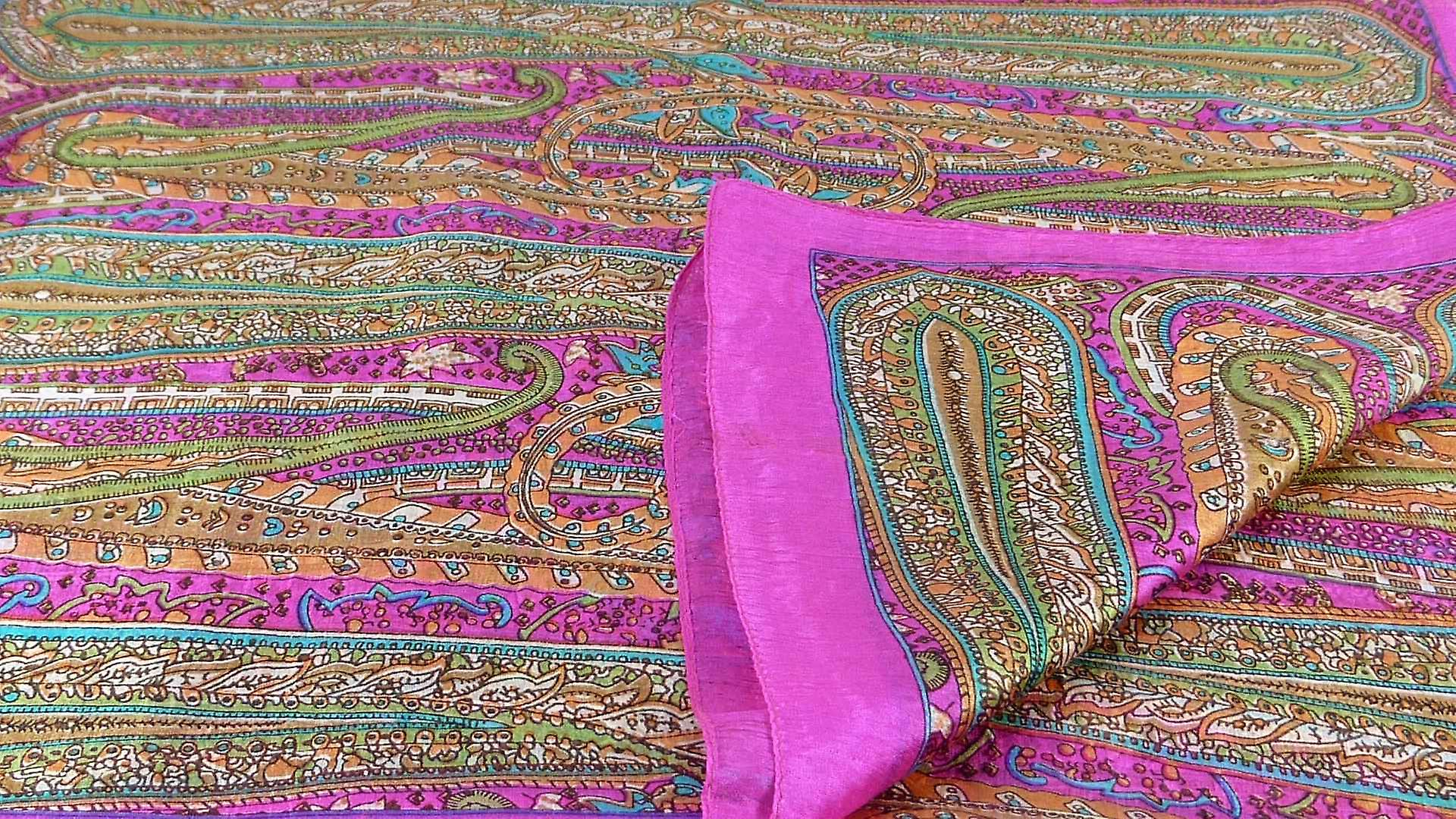 Mulberry Silk Traditional Long Scarf Gosthani Pink by Pashmina & Silk