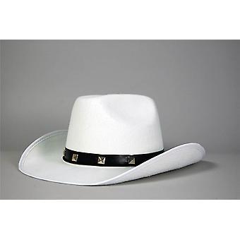 ورأى الأبيض مرصعة قبعة رعاة البقر.