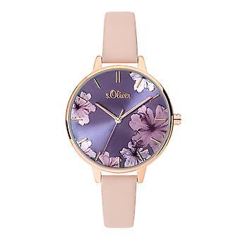 s.Oliver Damen Uhr Armbanduhr Leder SO-3778-LQ