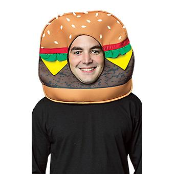 Adult Burger Headpiece Mask Food Novelty Fancy Dress Costume Accessory