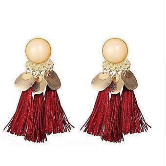 White Red Gold Drop Tassle Tassel Earrings Dress Fashion Ladies Girls Womans UK