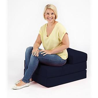 Bereit Steady Bett | Komfortable höchste Qualität 100 % Baumwolle Single Fold Out Z Bett Stuhl Futon in schwarz. Weich, komfortabel & leicht mit abnehmbarem Bezug (Navy Blue)
