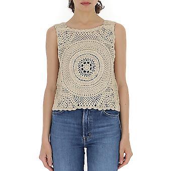 Alberta Ferretti A088701090018 Femmes-apos;s Beige Cotton Top