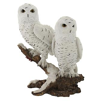 Pair of Snow Owls on a Branch Statue