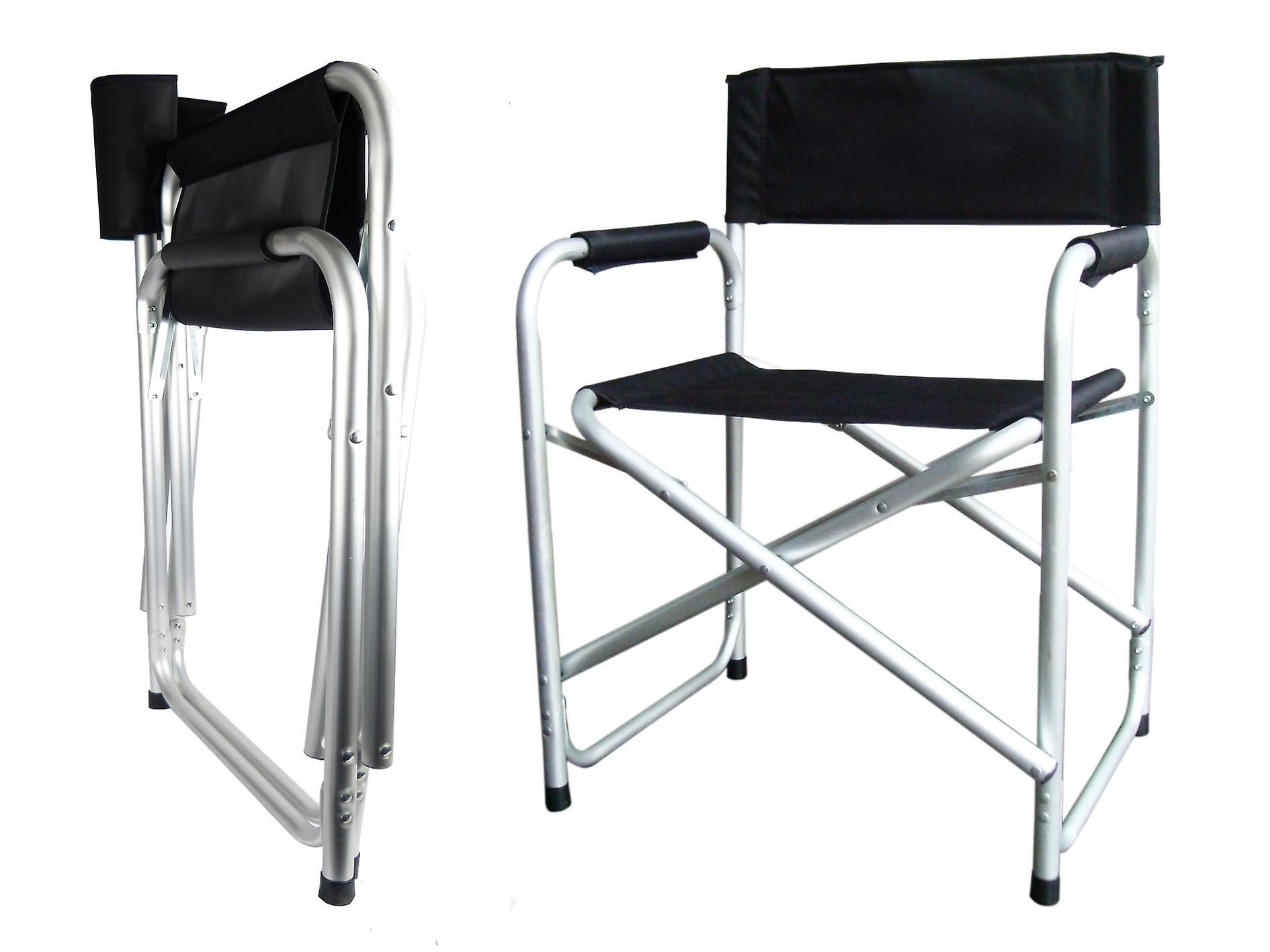 Hyfive® Black Aluminium Directors Folding Chair With Arm Rest Camping, Fishing,Garden Chair