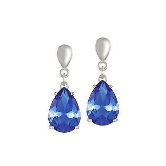 永遠のコレクションの誘惑ティア ドロップ サファイアの青の水晶シルバー トーン ドロップ ピアス