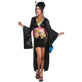 芸者日本アジア忍者戦士黒い着物女性衣装をドレスアップ