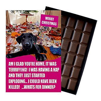 Black Labrador Funny Christmas Gift For Dog Lover Boxed Chocolate Greeting Card Xmas Present