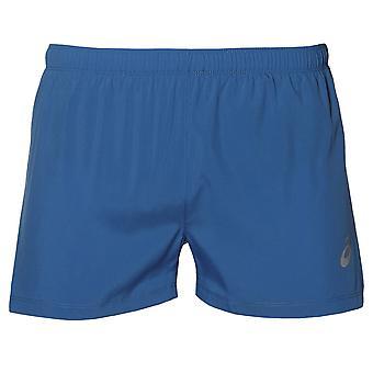 Asics 银分裂男子跑步锻炼健身训练短比赛蓝色