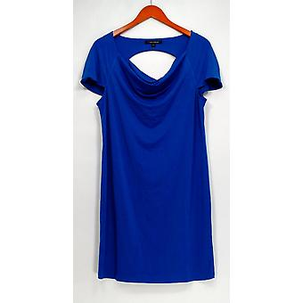 Nick Verreos Dress Short Sleeve Drape Neck Cut Out Back Blue A418210