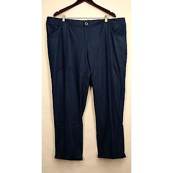 IMAN Petite Pants Skinny Leg Buttoned Pocketed Blue Womens #1