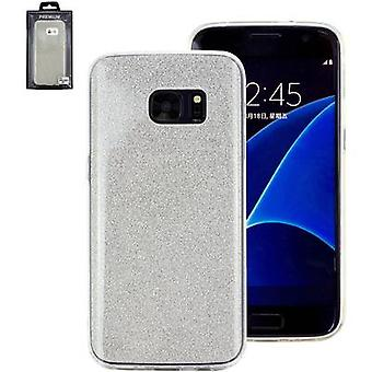 Perlecom Back cover Samsung Galaxy S7 Zilver, Glitter effect