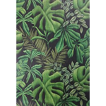 Tropical Palm Leaf Wallpaper Green Black Textured PastE Wall Création A.S
