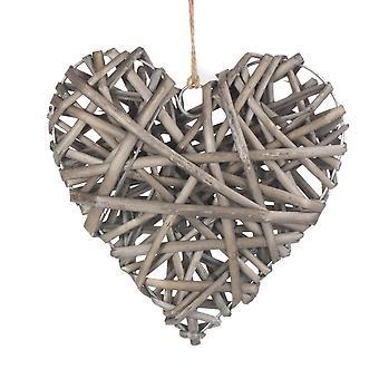 Coração cheio antigo médio do vime da lavagem