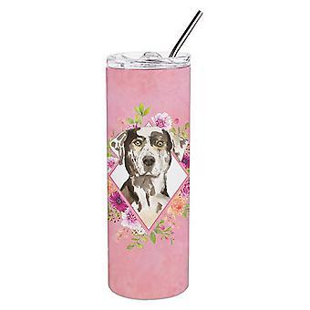 Катахула Леопардовая собака Розовые цветы Двойная стена нержавеющая сталь 20 унций Тощий Ту