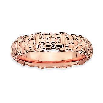 925 sterlinghopea kiillotettu kuviollinen pinottava ilmaisuja vaaleanpunainen kullattu rengas korut lahjat naisille - rengas koko: 5