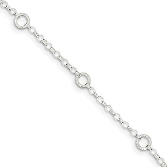 925 Sterling Silver Solid Polished Fancy for boys or girls Bracelet 6 Inch Spring Ring - 1.7 Grams