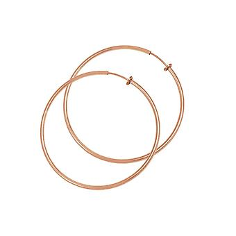 Eternal Collection Hoopla 30mm Rose Gold Tone Clip On Hoop Earrings