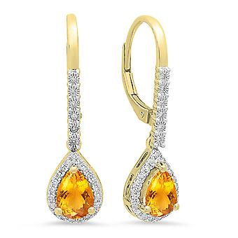 Dazzlingrock Collection 10K 7X5 MM Each Pear Citrine & Round White Diamond Ladies Dangling Drop Earrings, Yellow Gold