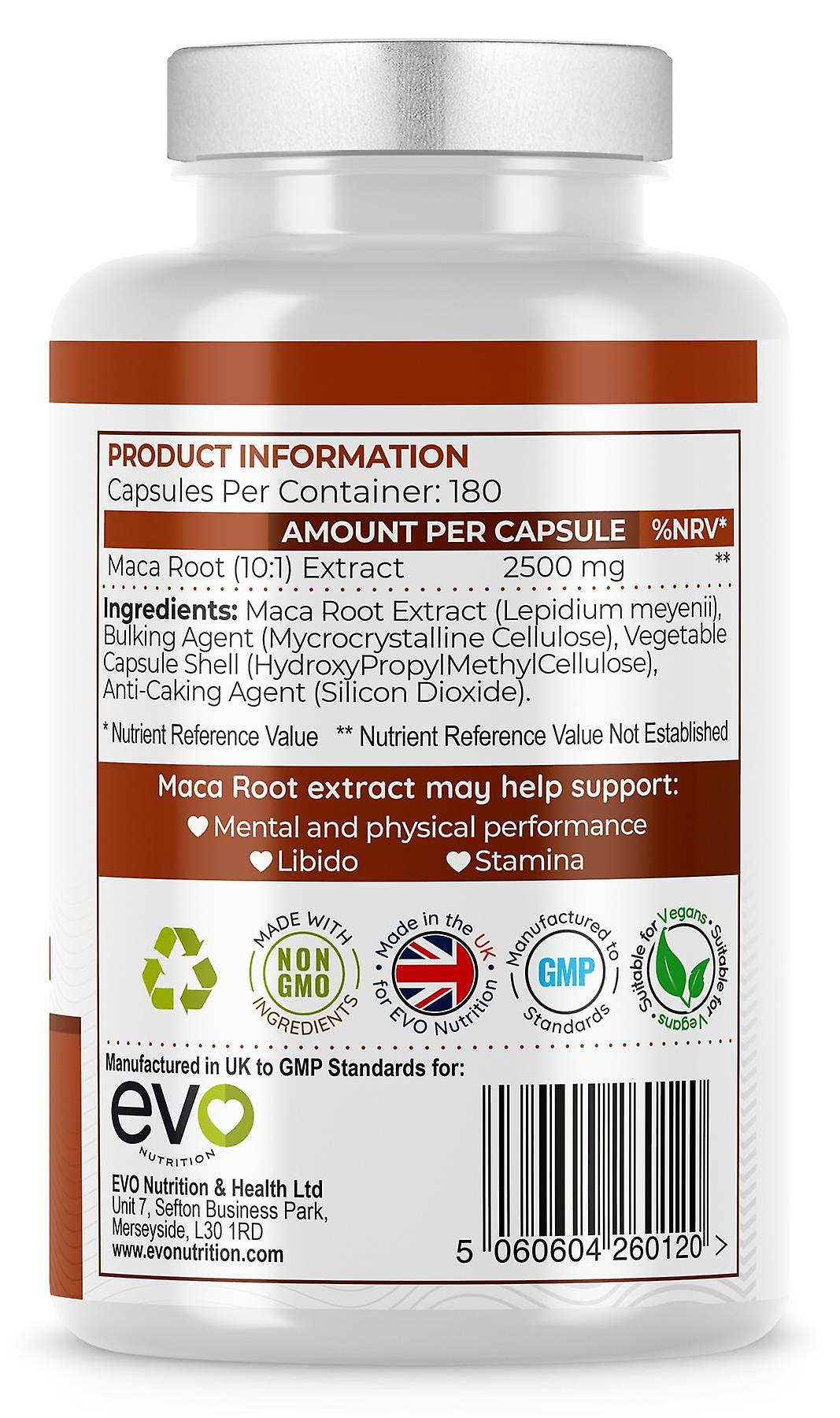 Maca Root Extract (180 Kapseln) 2500mg Hochfest - Evo Nutrition
