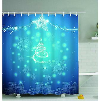 Teal Blue Christmas Shower Curtain