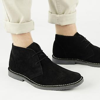Roamers Mens 2 Eye Shaped Toe Leather Desert Boots Noir