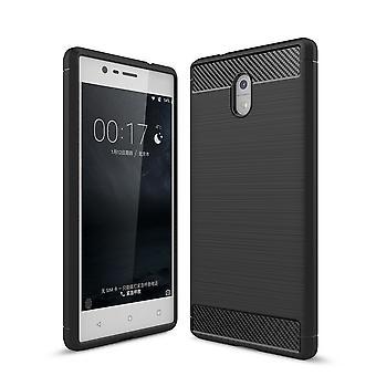 Casco para Nokia 3 Efecto Carbono Negro