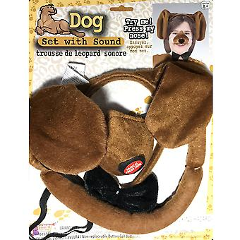 Dog Animal Set Ear Nose Tail Choker Book Week Boys Girls Costume Kit with Sound