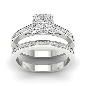 Igi certificado s925 prata 0.60ct tdw diamond square cluster conjunto de noivas halo