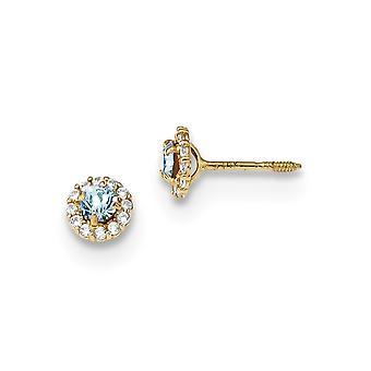 5.35mm 14k Madi K Azul Polido e Clear CZ Zirconia Edição de Diamante Simulação de Brindes de Joias para Mulheres