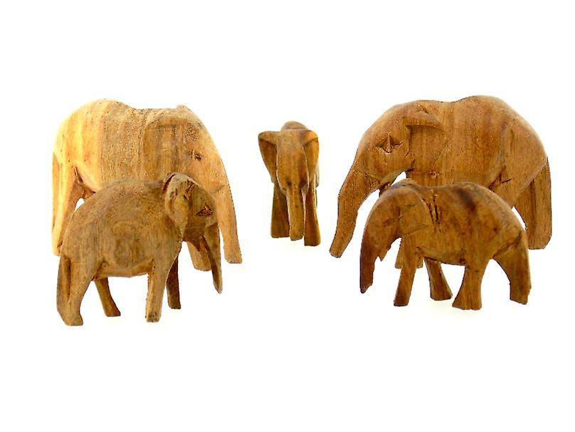 Hand Carved Elephant Sculptures - 5 Piece Set