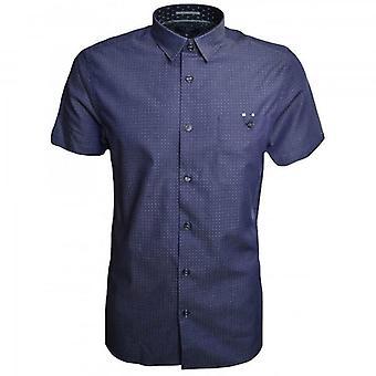 Ted Baker Elegant SS Denim Dobby Shirt Blue
