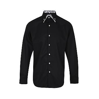 JSS Plain Black Regular Fit 100% Cotton Shirt With White Paisley Double Collar