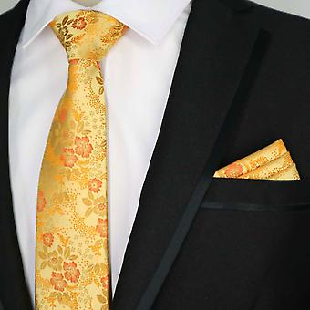 Orange & red wedding floral tie & pocket square set