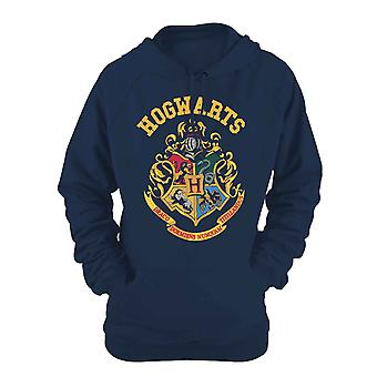 Harry Potter Hoodie Hogwarts Crest new Official Womens Slim Fit Blue Pullover
